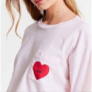 Truly Madly Deeply Pink Oui Heart Cropped Tee